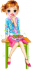 Girl eating strawberry at the chair