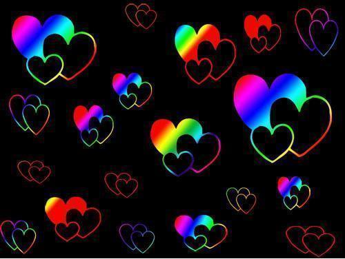 Neon Rainbow Hearts Wallpaper Download